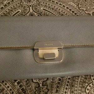Prada long light sky blue vintage silver Wallet